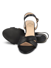 Angelique Black Open Toe Sandals 5