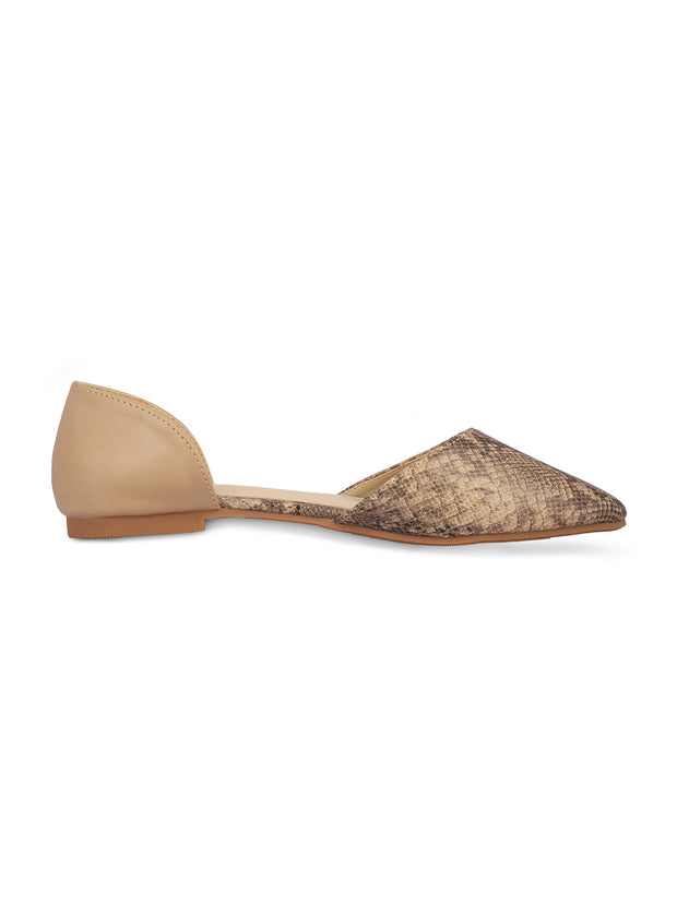 Charmaine Beige Pointed Toe Ballerinas 1