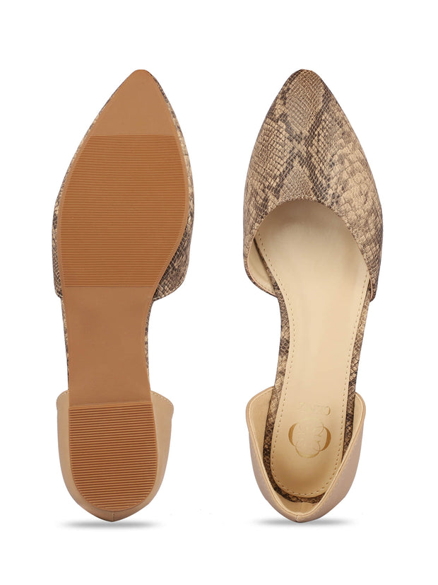 Charmaine Beige Pointed Toe Ballerinas 4