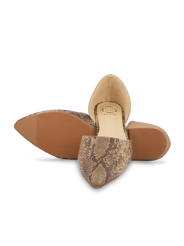 Charmaine Beige Pointed Toe Ballerinas 5