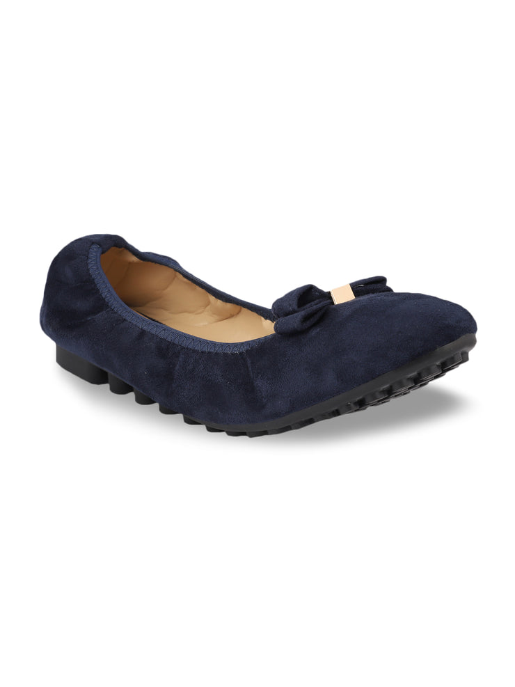 Celena Navy Scrunch Ballerinas