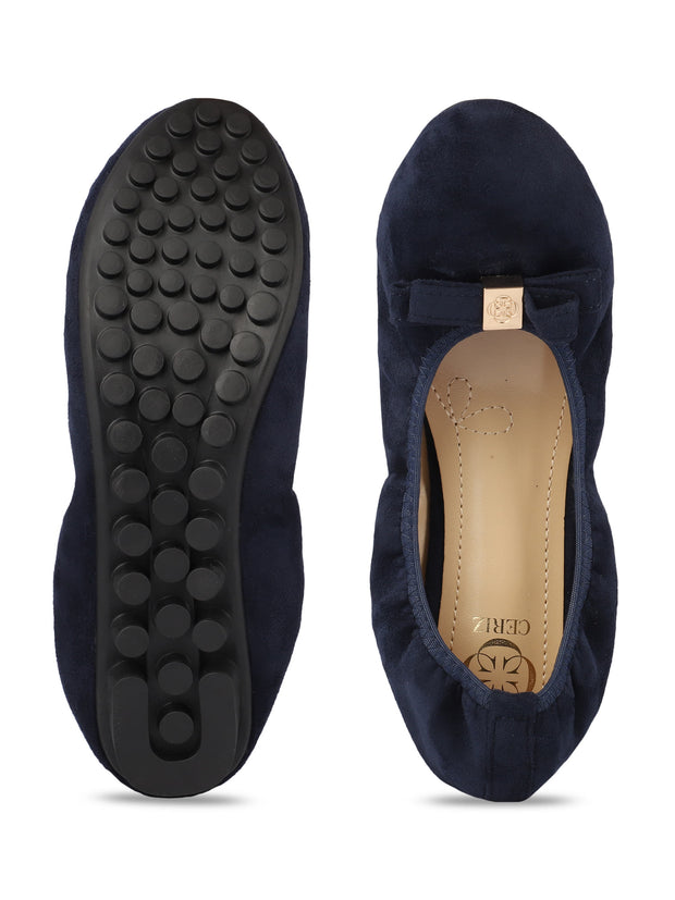 Celena Navy Scrunch Ballerinas 4
