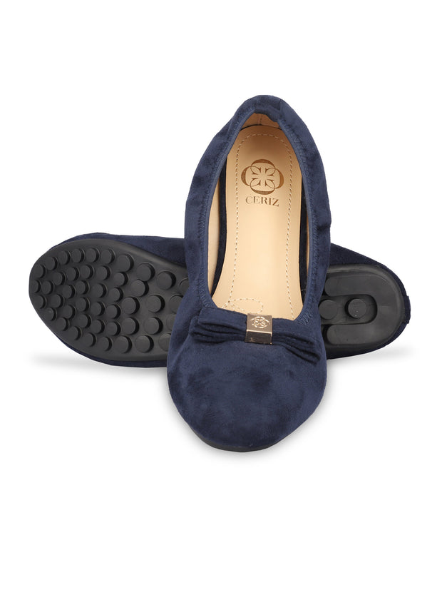 Celena Navy Scrunch Ballerinas 5