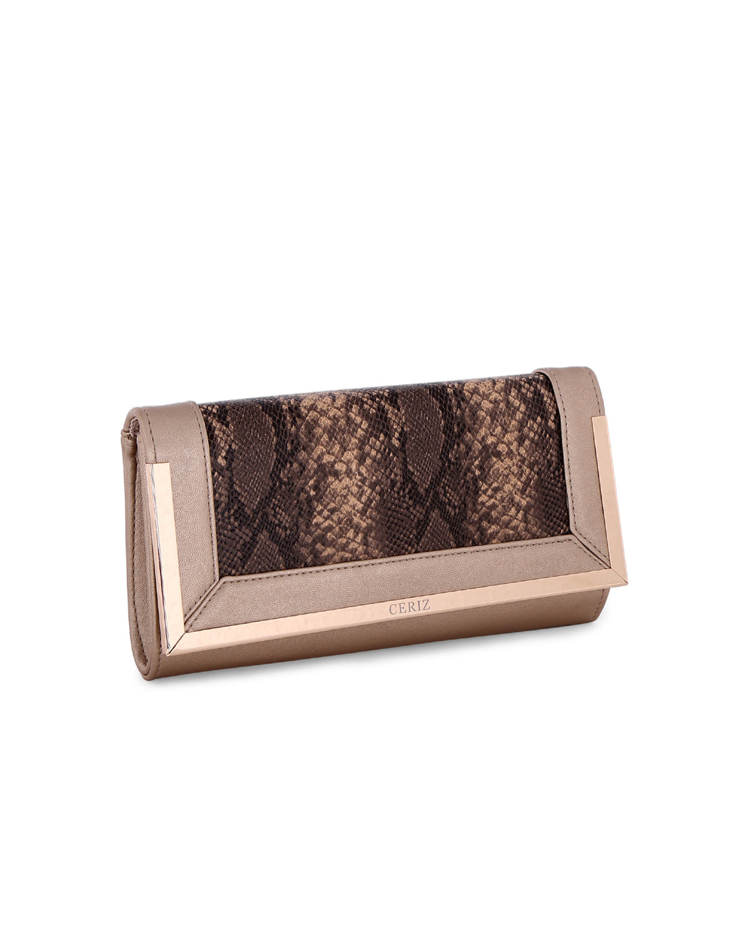 Despina Gold Patterned Clutch