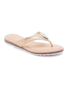 Tanzanite Metallic Flat Sandals