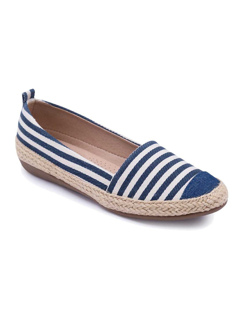 Navy Blue and White Striped Espadrilles