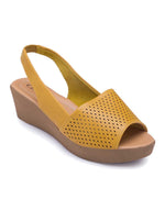 Wedge Heeled Mustard Slingback