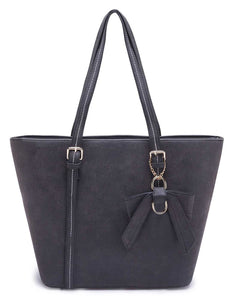 Black Tote with Bow Detail