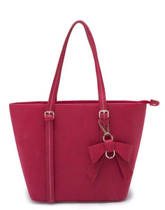 Red Tote with Bow Detail