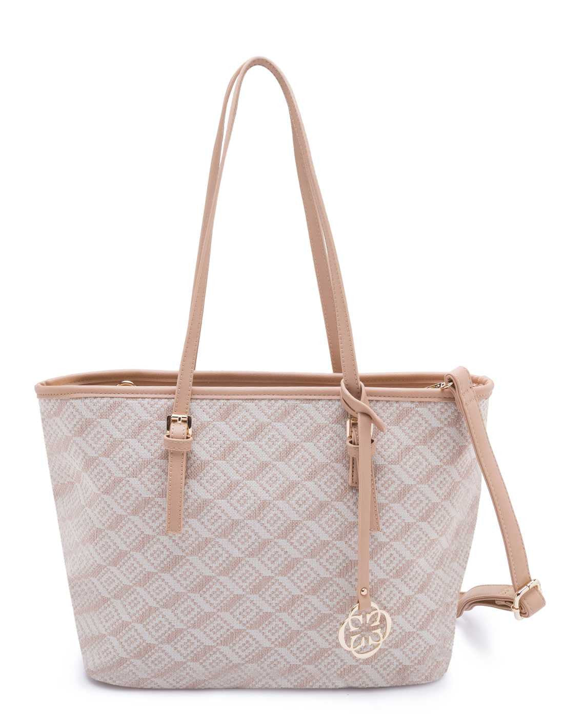 Beige Quilted Tote