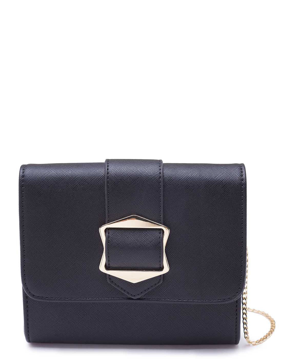 Black Party Clutch with Buckle Detail