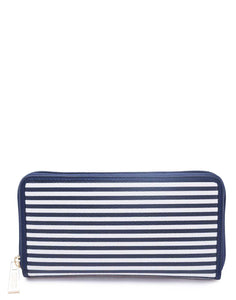 Navy Blue and White Striped Wallet