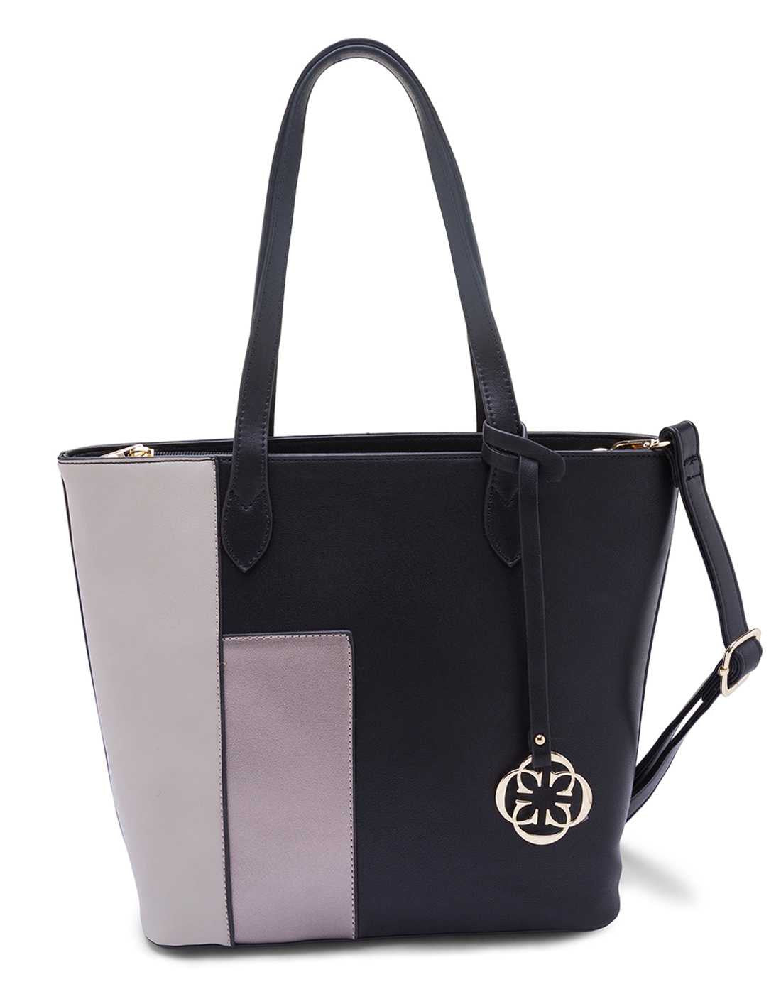 Black and Beige Color Blocking Handbag