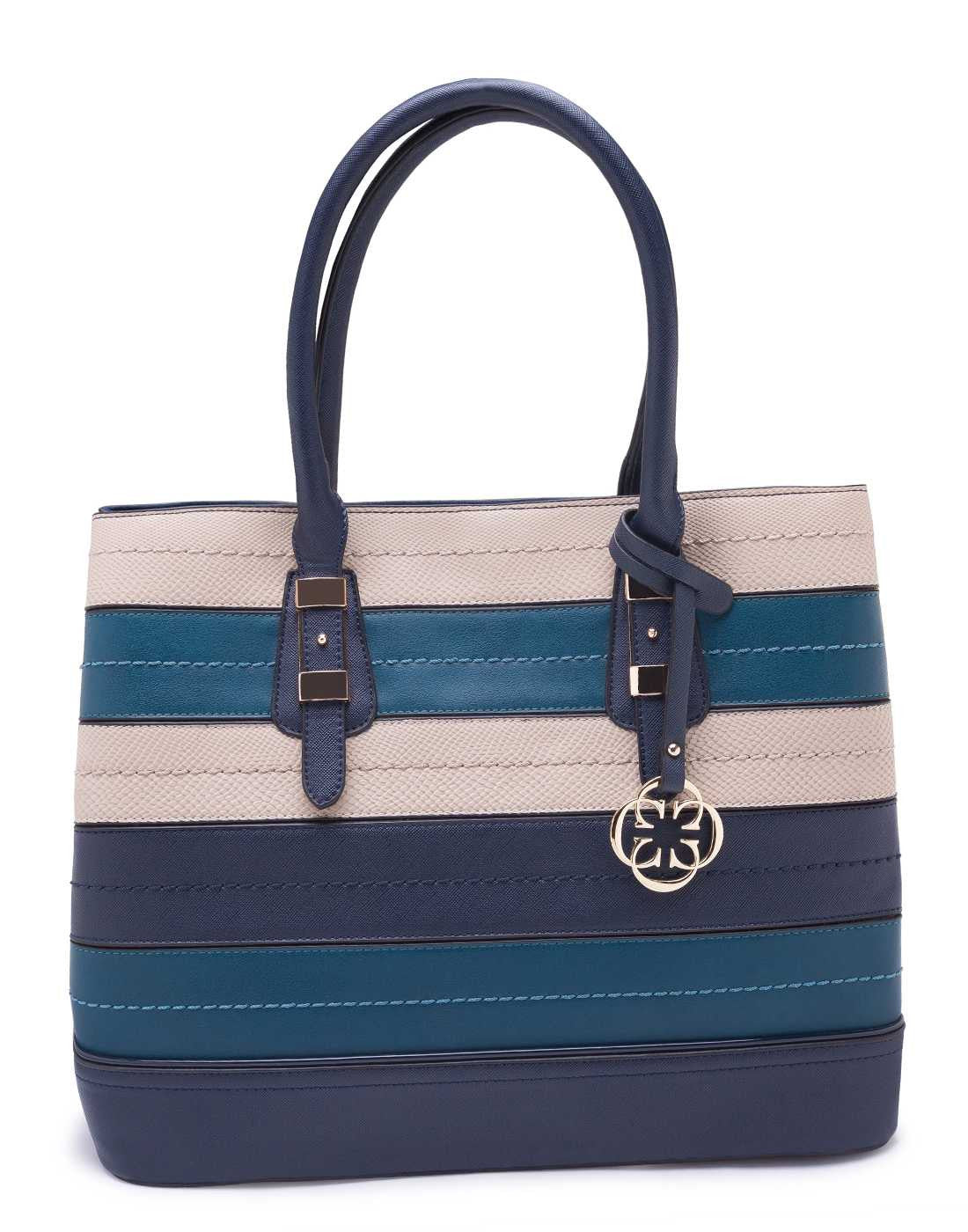 Blue and White Striped Handbag