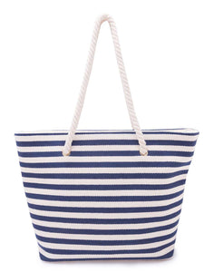Blue and White Striped Sailor Tote