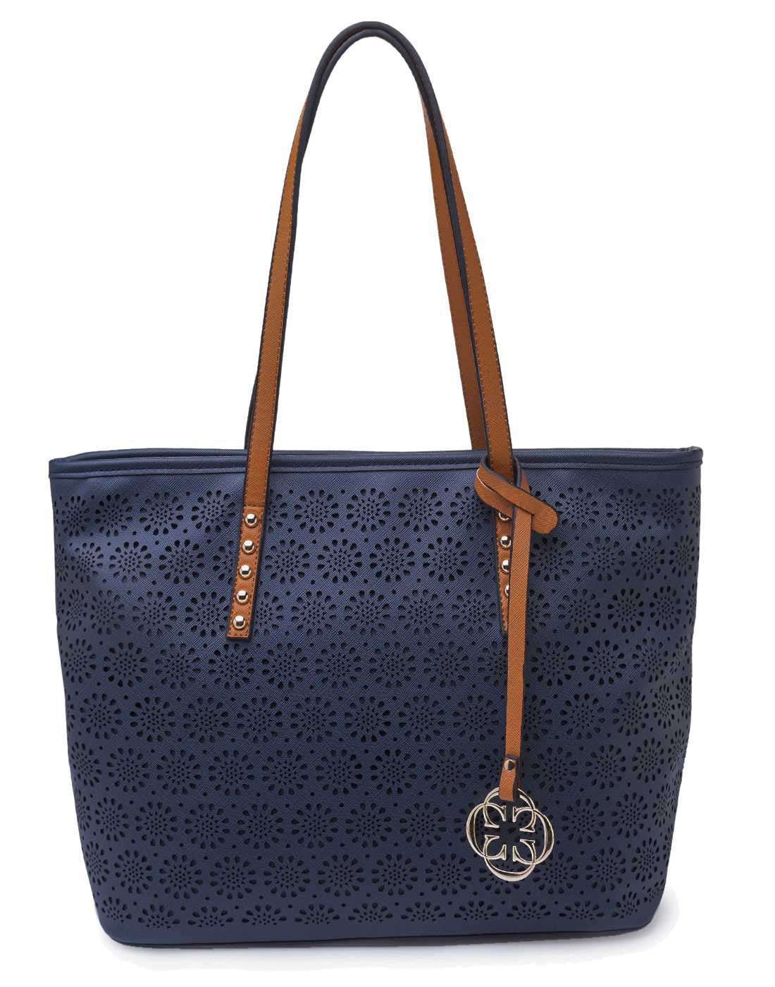 Navy Blue Tote with Laser Cut Detail