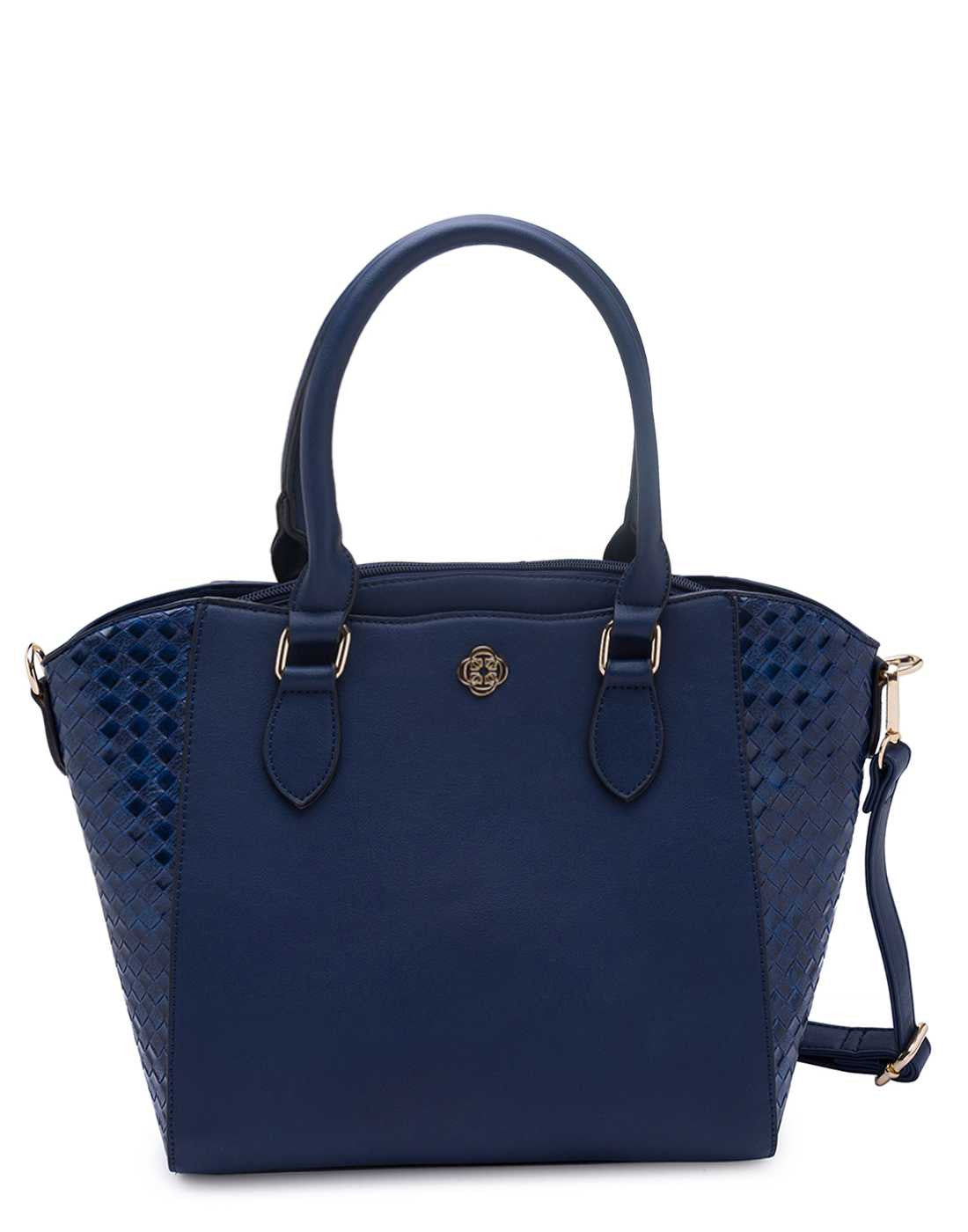 Structured Navy Blue Handbag with panelling