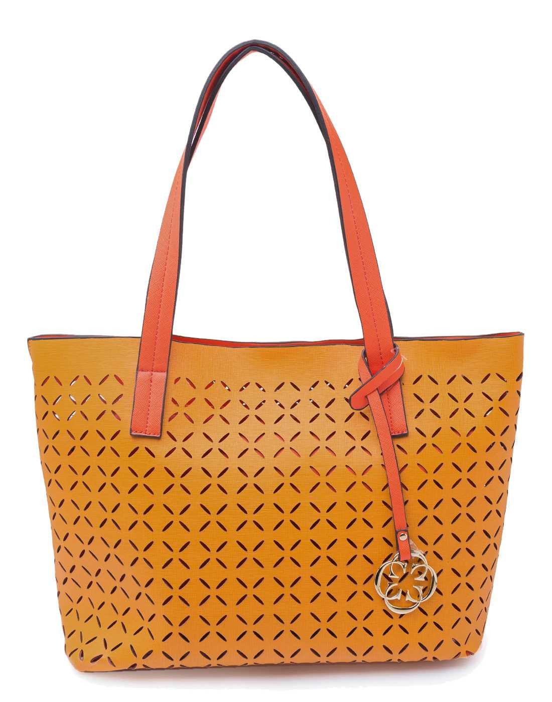 Mustard Tote with Laser Cut Detail