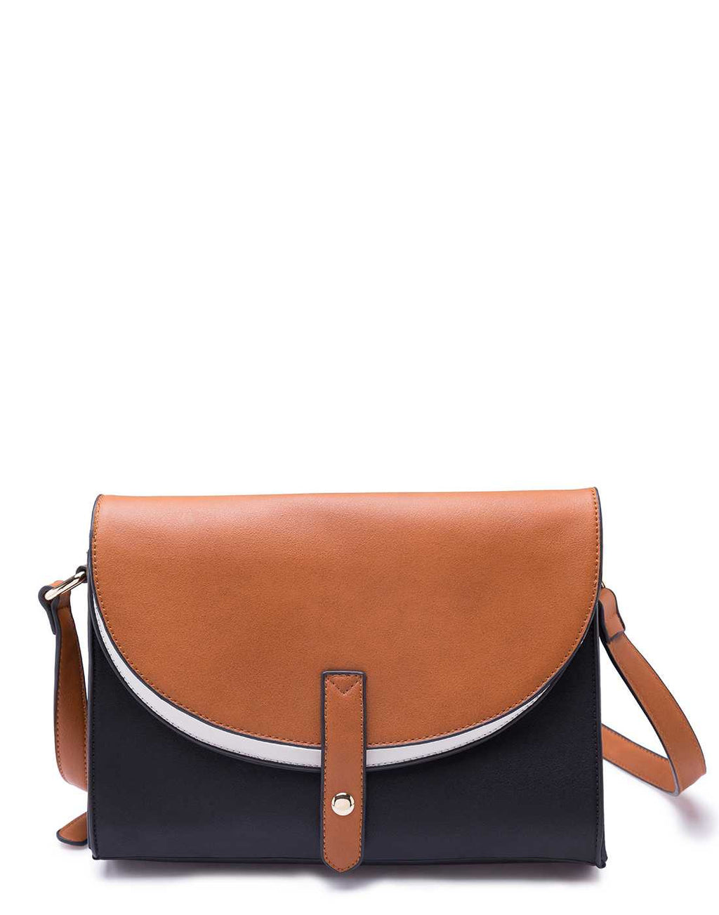 Black Sling Bag with Tan Flap