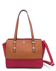 Red and Tan Structured Handbag