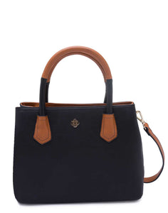 Black Handbag with Contrast Handles