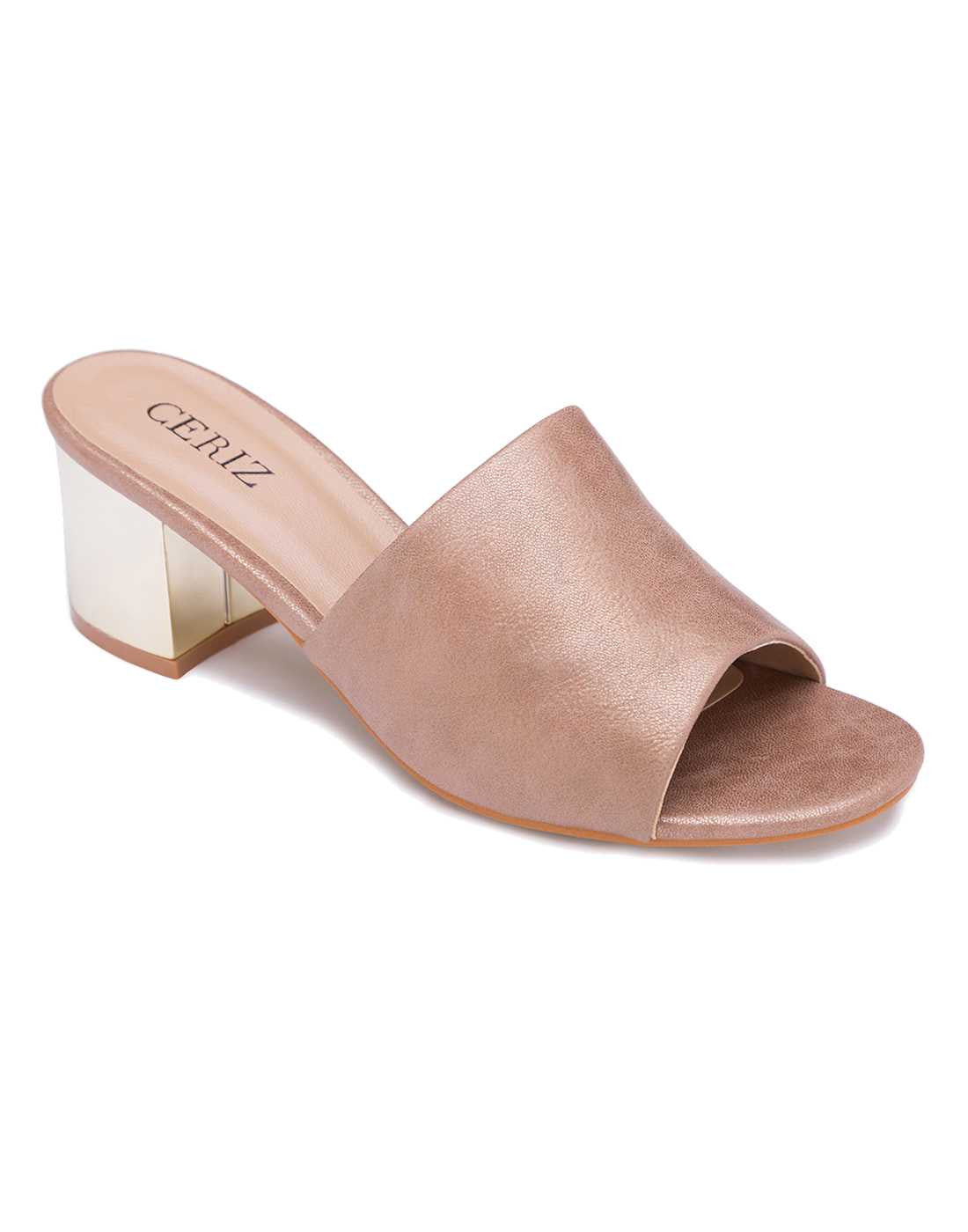 Block Heeled Bronze Mule