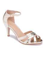 Gold Sandals with Ankle Strap