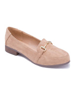 Beige Loafers with Metal Link Detail