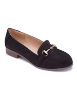 Black Loafers with Metal Link Detail