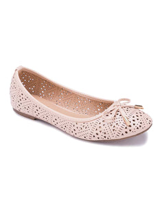 Laser Cut Cream Ballerinas
