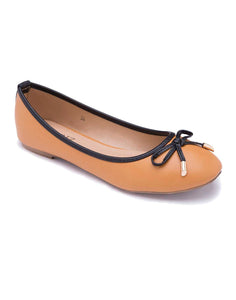 Tan Ballerinas with Black Details