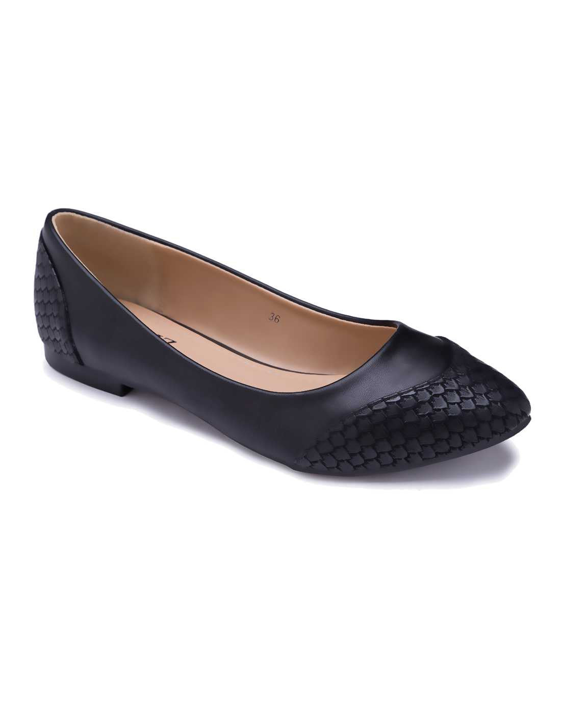 Panelled Black Ballerinas