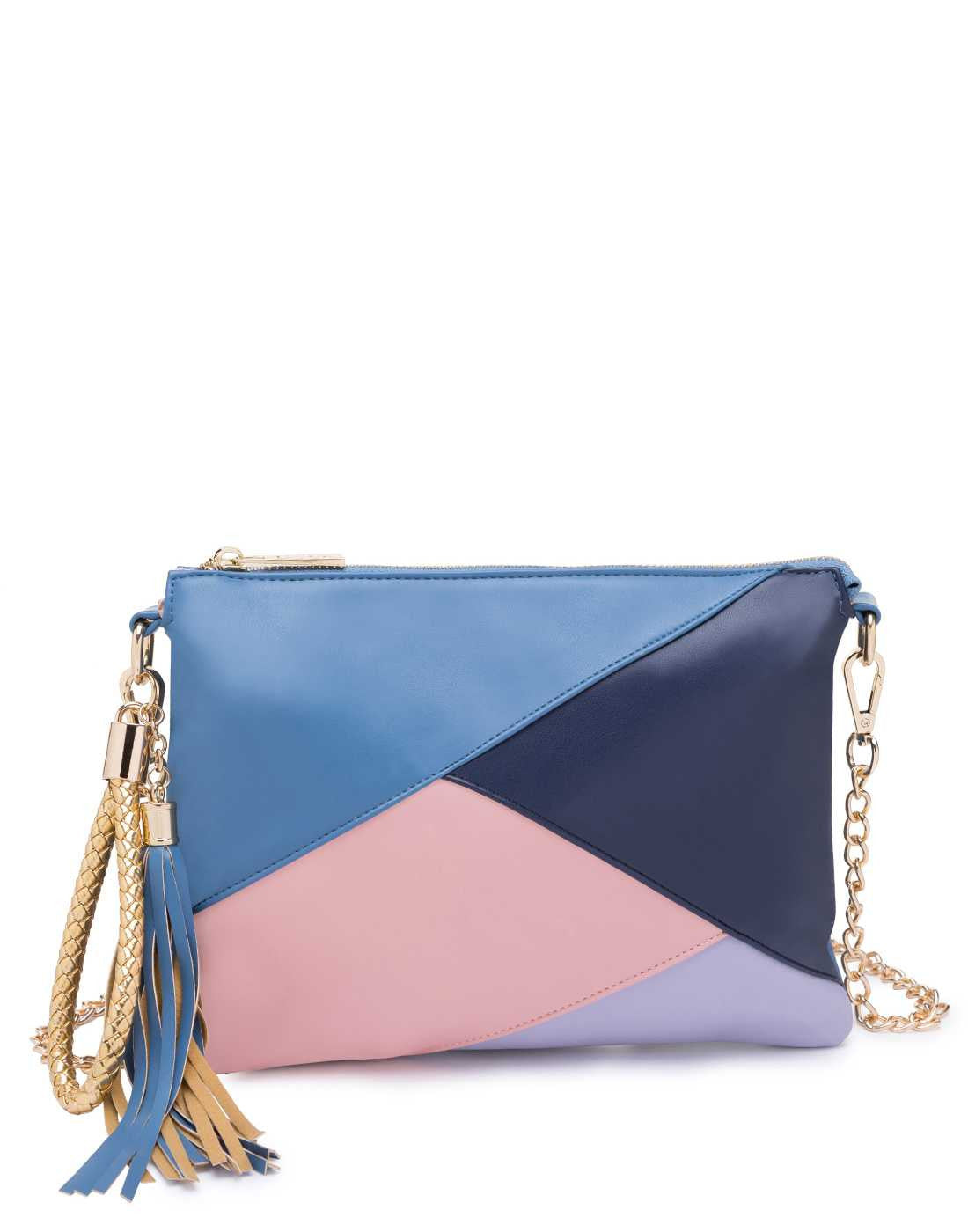 Panelled Blue and Pink Sling Bag