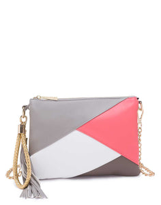 Panelled Grey and Pink Sling Bag