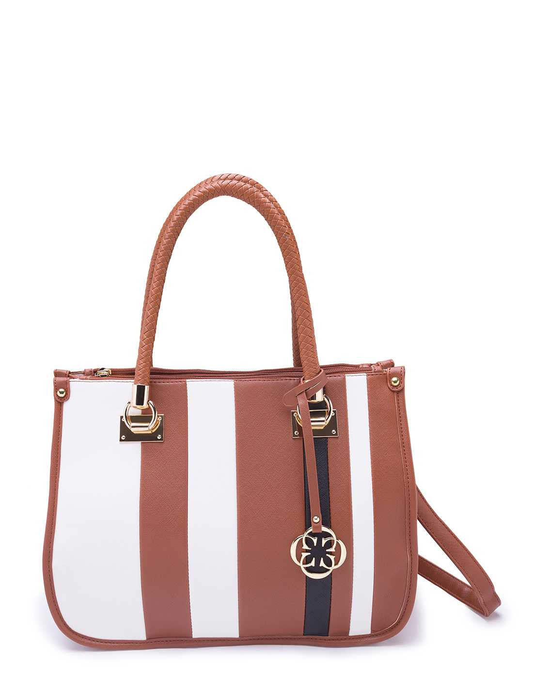 Brown and White Striped Open Handbag