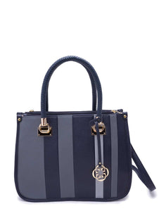 Navy Blue and White Striped Open Handbag