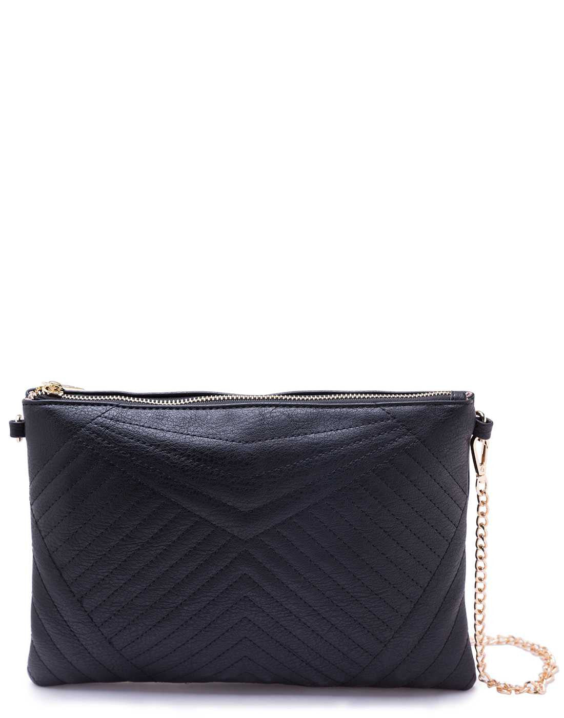 Quilted Black Sling Bag with Chain