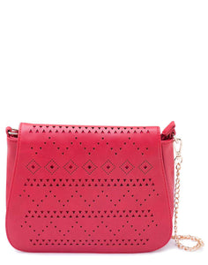 Red Sling Bag with Laser Cut Flap