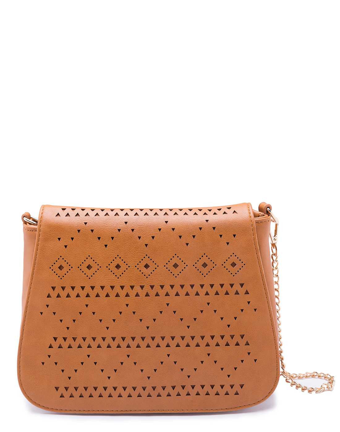 Tan Sling Bag with Laser Cut Flap