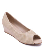 Beige Peep Toe Wedge