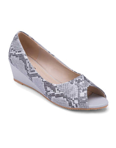 Grey Snake Skin Pattern Peep Toe