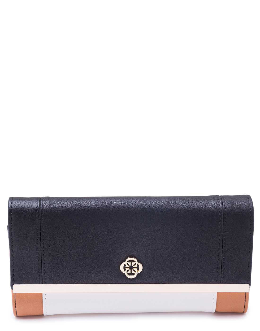 Panelled Wallet with Black Flap