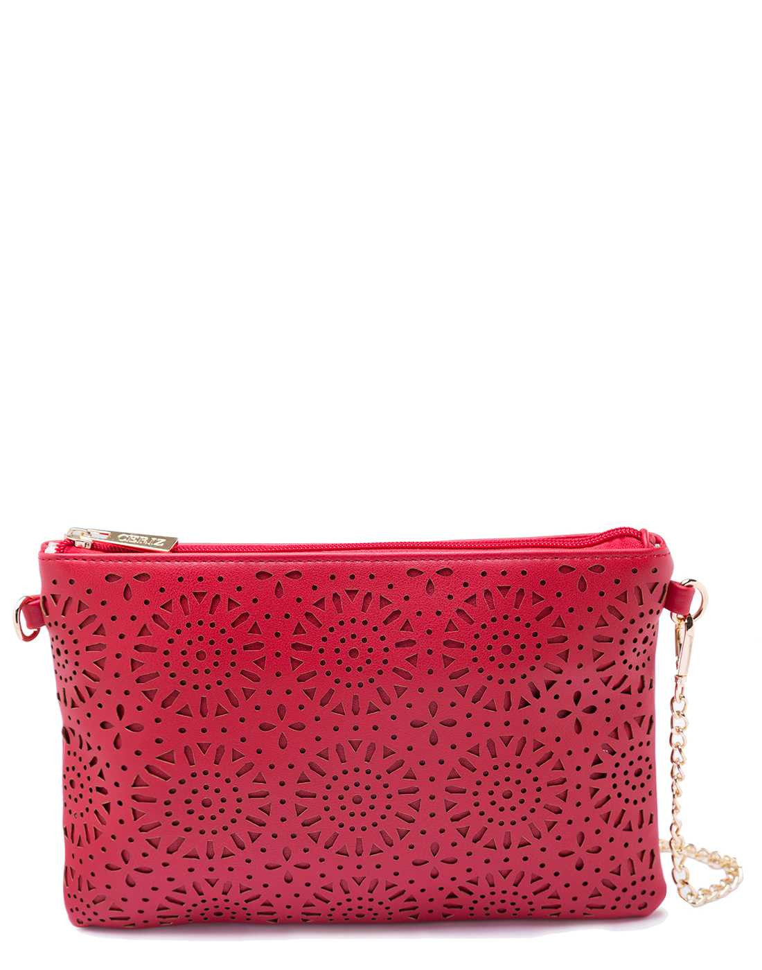 Red Sling Bag with Chain and Laser Cut Design