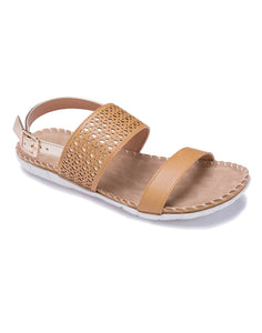 Khaki Open Sandal with Laser Cut Pattern