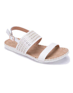 White Open Sandal with Laser Cut Pattern