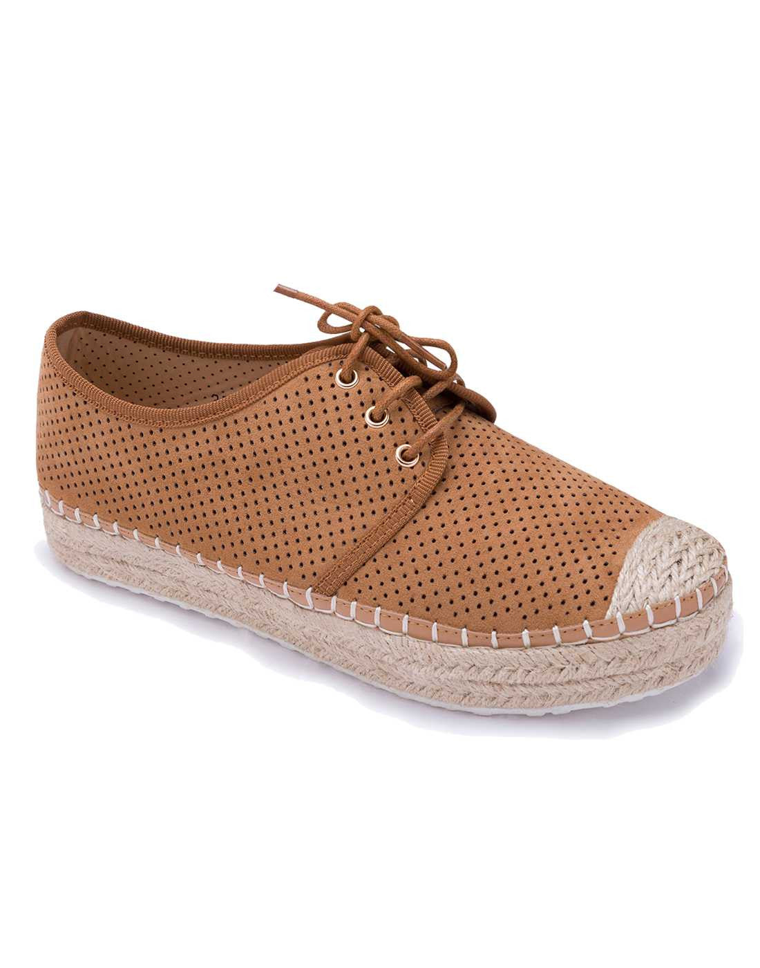 Brown Lace Up Platform Espadrilles