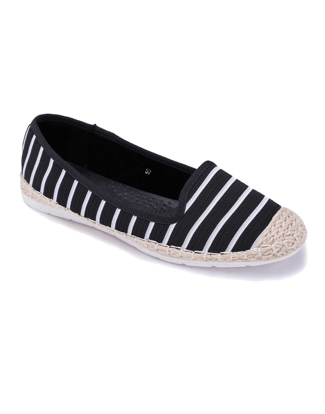 Black and White Striped Espadrilles