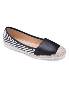 Black and White Chevron Patterned Espadrille