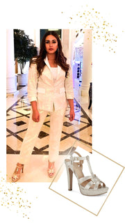 Huma Qureshi in Andrea Platform-heeled Skin Gold Sandals