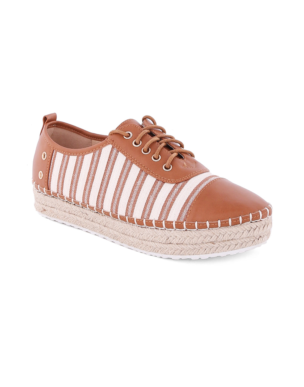 Talmaia Tan Stripped Sneakers